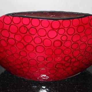 Лакирана ваза червена с кръгове-LVQ018A