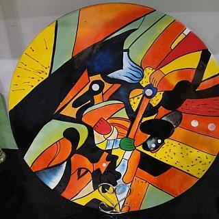 Ръчно изработени рисувани чинии от лаково дърво  , 45 см диаметър