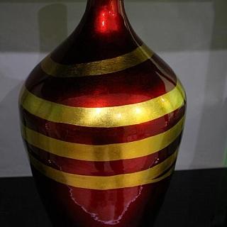 Ръчно изработена  ваза  от лаково дърво висока 50 см червена-LV247C
