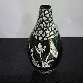 Лакирана ваза  за сухи цветя черна със седеф TT263B висока 28 см