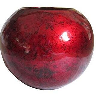 Ваза от лакирано дърво червена с черни точки -LV210.