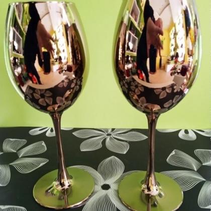 Метализиран комплект от 2 чаши за  вино тип Бокал