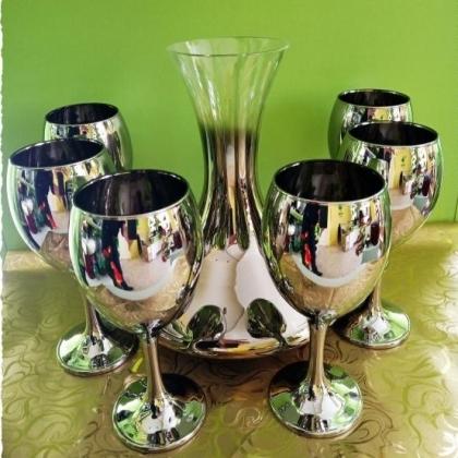 Сервиз от 6 метализирани чаши за бяло/червено вино  и декантер/кана 1.2 л