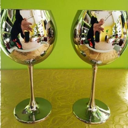 Метализирани чаши тип бокал комплект от 2 броя, 750мл, Silver