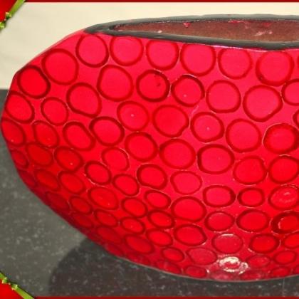 Ваза ръчно изработена от лаково дърво червена с кръгове-LVQ018A