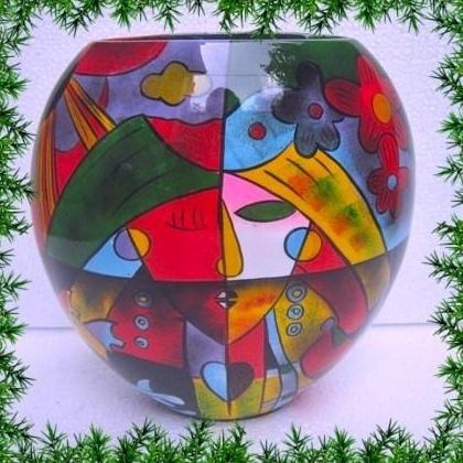 Ваза от лакирано дърво  рисувана -LV819B.Височина 25 см
