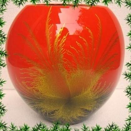 Ръчна изработка  дизайнерска ваза от лаково дърво